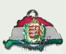 Nagy-Magyarországos koszorús címeres bőr szíjas nyaklánc (39x24 mm)