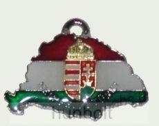 Nagy-Magyarországos nemzeti színű címeres bőr szíjas nyaklánc (39x24 mm)