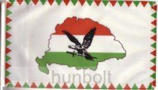Farkasfogas nemzeti színű Nagy- Magyarországos turulos zászló