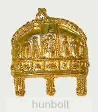Szent korona jelvény arany színű (16x20 mm)