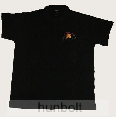 Hímzett Bulcsú vezér galléros fekete póló (elől és hátul hímzett ... c33988b0d9