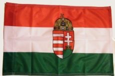 Nemzeti színű címeres nyomott mintás, műszálas zászló   90X150 cm