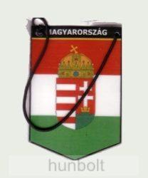 Autós zászló, 5 szögletű, Magyarország felirattal, fóliázott, gumis (6x9 cm)