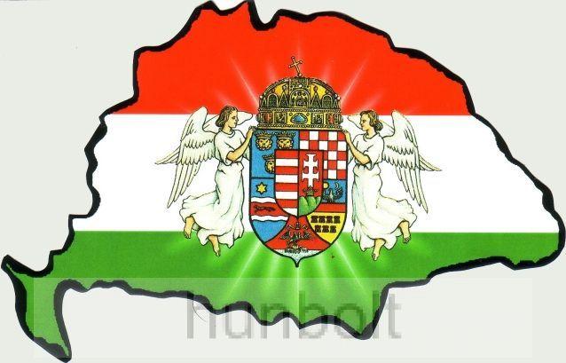 Angyalos hűtőmágnes Nagy-Magyarország körvonallal 14x8,5 cm