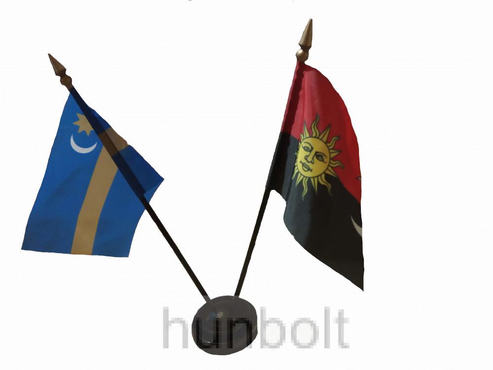 Székely és Erdély zászlók asztali tartóval