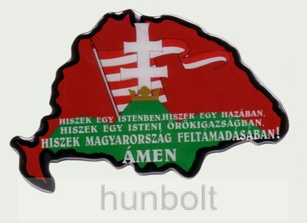 Műgyantás domború Nagymagyarország Hiszek egy.. matrica 14X9 cm