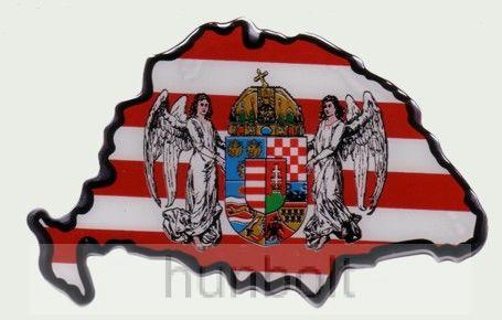 Műgyantás domború Nagymagyarország árpádsávos angyalos matrica 8,5X6 cm