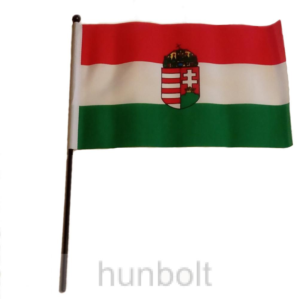 Nemzeti színű címeres zászló 15x23 cm, 30 cm-es fekete műanyag pálcával