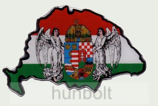 Műgyantás nemzeti színű Nagymagyarország angyalos hűtőmágnes 14X9 cm
