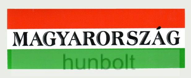 Nemzeti színű Magyarország felirattal matrica 10X5,5 cm