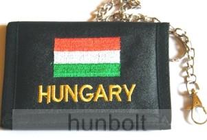 Textil pénztárca nemzeti színű Hungary felirattal (13X9,5 cm)