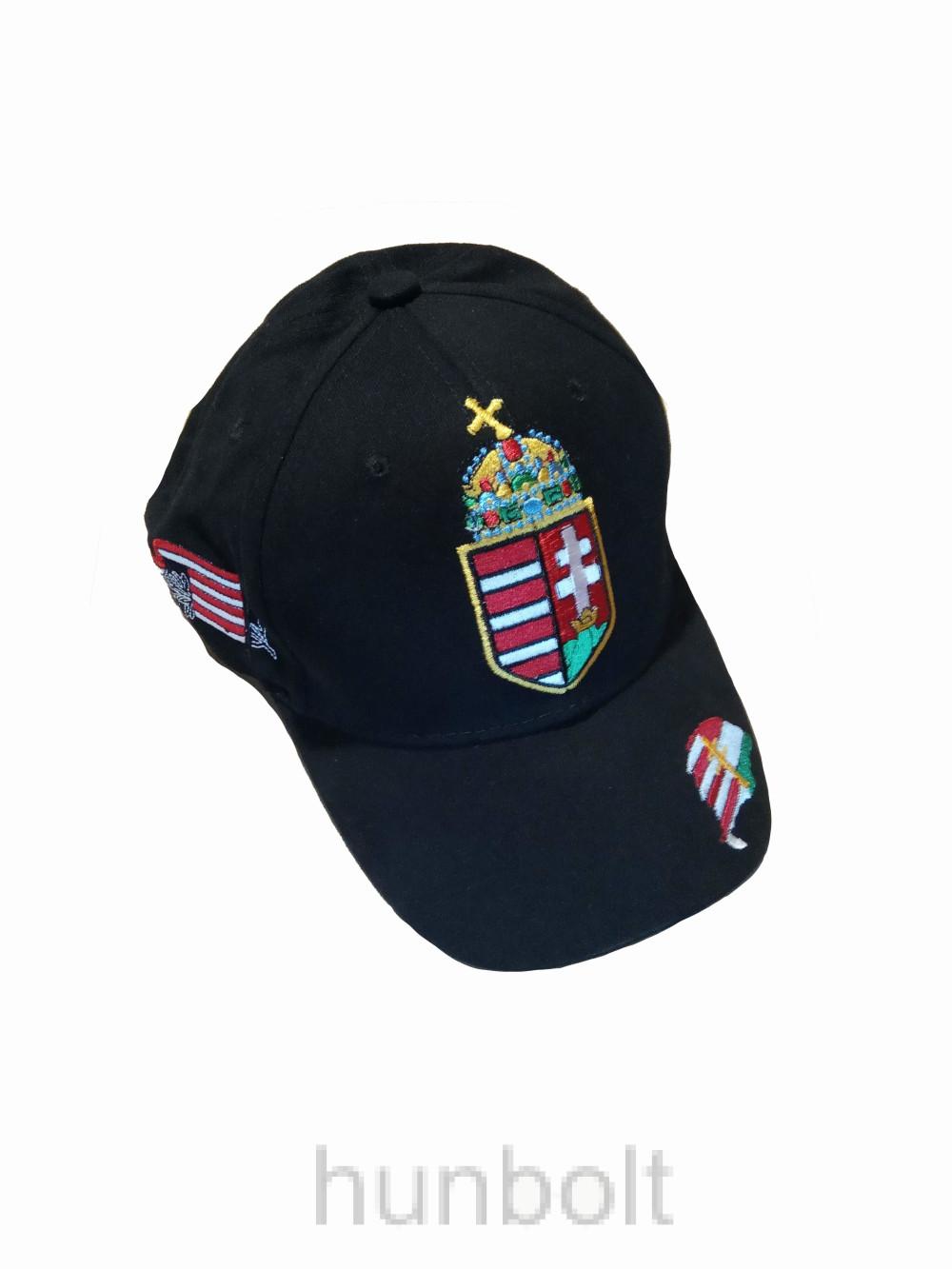 Baseball nagy címeres fekete sapka, Nagy-Magyarország hímzéssel- Hungary felirat nélkül