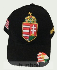 Baseball nagy címeres fekete sapka, Nagy-Magyarország hímzéssel - Hungary felirattal