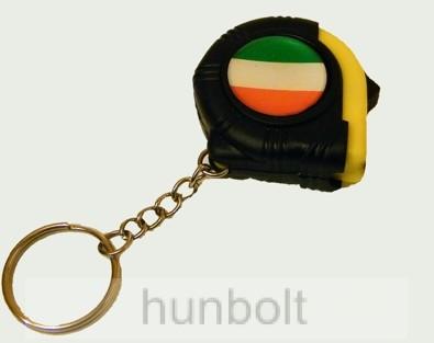 Nemzeti színű mérőszalagos kulcstartó (4X4 cm)
