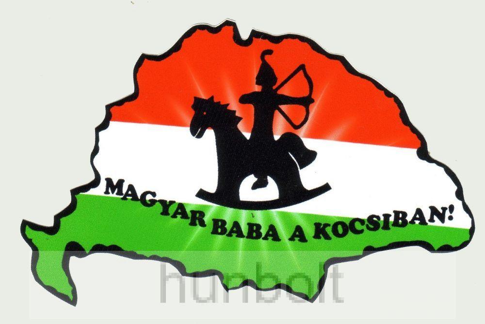 Nemzeti színű Nagy-Magyarország Magyar baba a kocsiban külső matrica (14X8 cm)