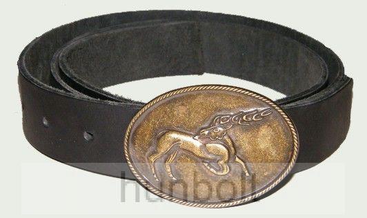 Csodaszarvas bronz övcsat bőrszíjjal (fekete színű bőröv)