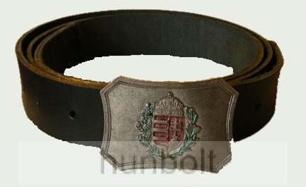 Színes ezüst címeres övcsat bőrszíjjal (fekete színű bőröv)