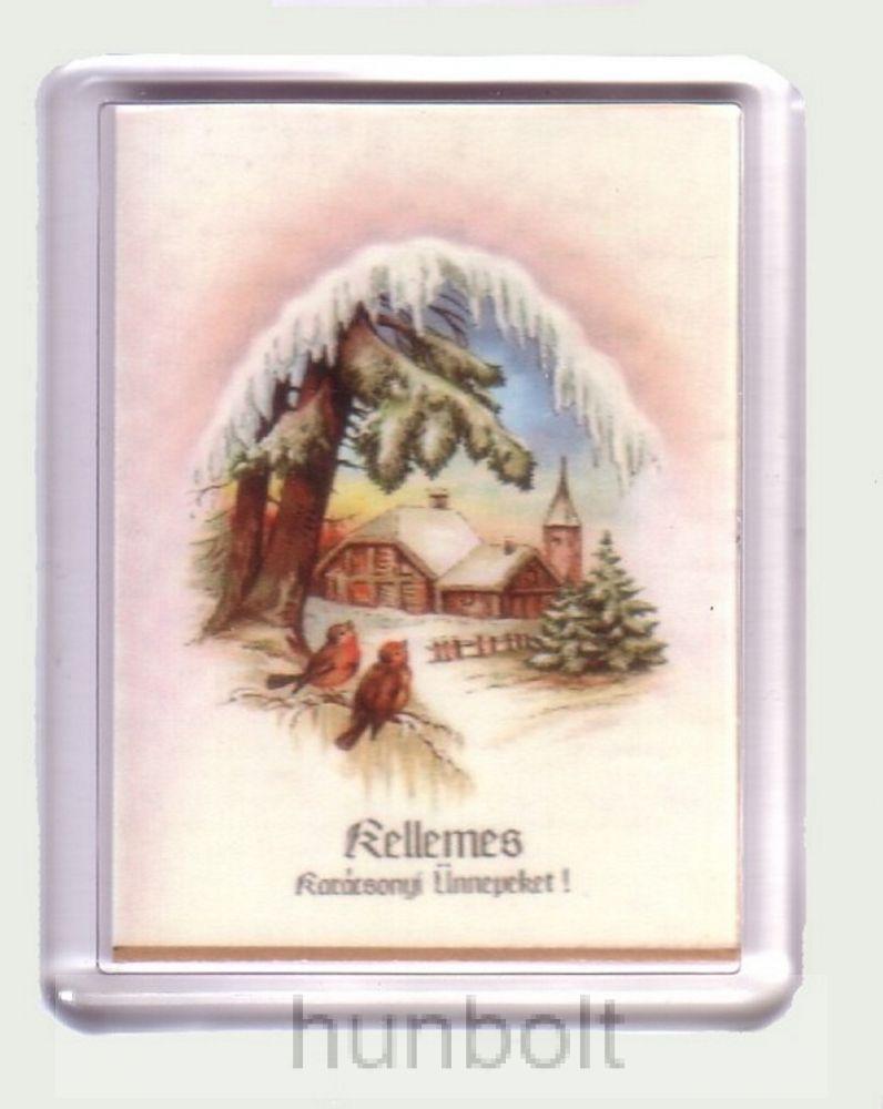 Karácsonyi hűtőmágnes (műanyag keretes karácsonyi termékek)