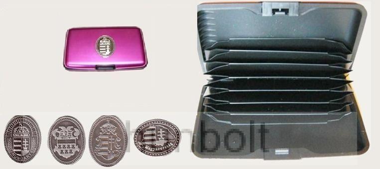 Bankkártya tartó metál pink színű ón Erdély címer matricával