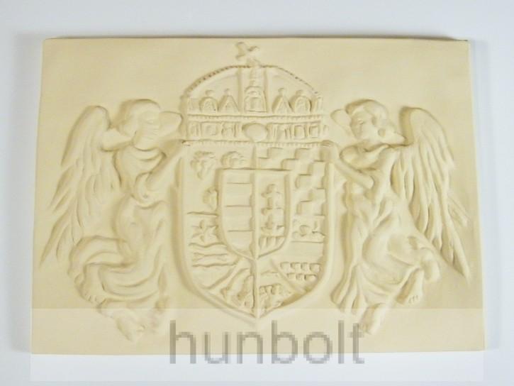 Nagy angyalos bézs címer műkő 46x33