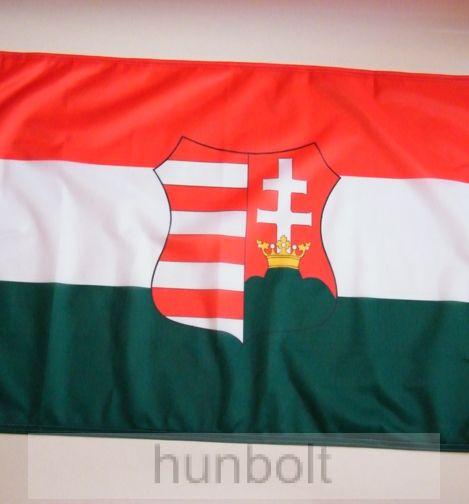 Kossuth címeres piros-fehér-zöld zászló 60x90cm, bal oldalon ringlivel