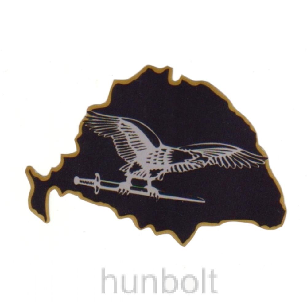 Nagy-Magyarország fekete alapon szürke turulos autós matrica (15x10 cm), belső