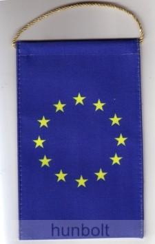 4 szögletű 10x15 cm EU zászló, arany zsinórral