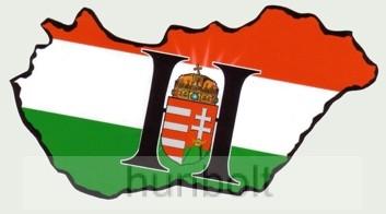 Fekete H betűs Magyarország hűtőmágnes 14x8 cm
