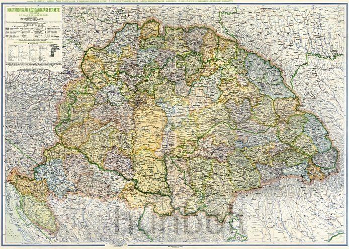 Magyarország közigazgatási térképe 1918-ban az 1942. évi határokkal (Kogutowicz M.) keretezve, kasírozva