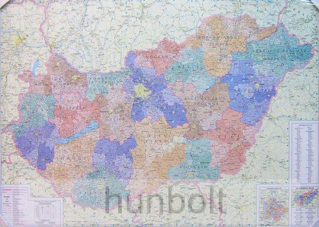 Magyarország régiói, megyéi, kistérségei és települése 120x87 cm Ívben, fóliázva lécezve