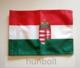 Nemzeti színű 2 oldalas címeres hajós zászló (20X30 cm)- tépőzáras