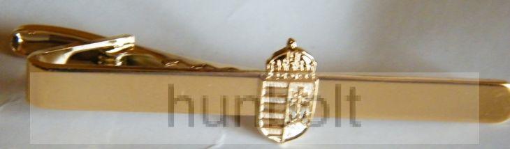 Arany címeres nyakkendőcsipesz, arany színű