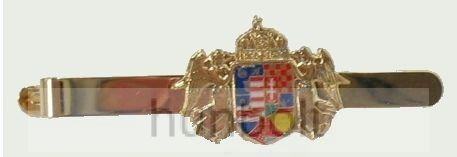 Angyalkás nyakkendőcsipesz közép címerrel, arany színű