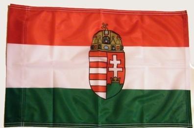 Nemzeti színű címeres zászló 75X120 cm rúd nélkül