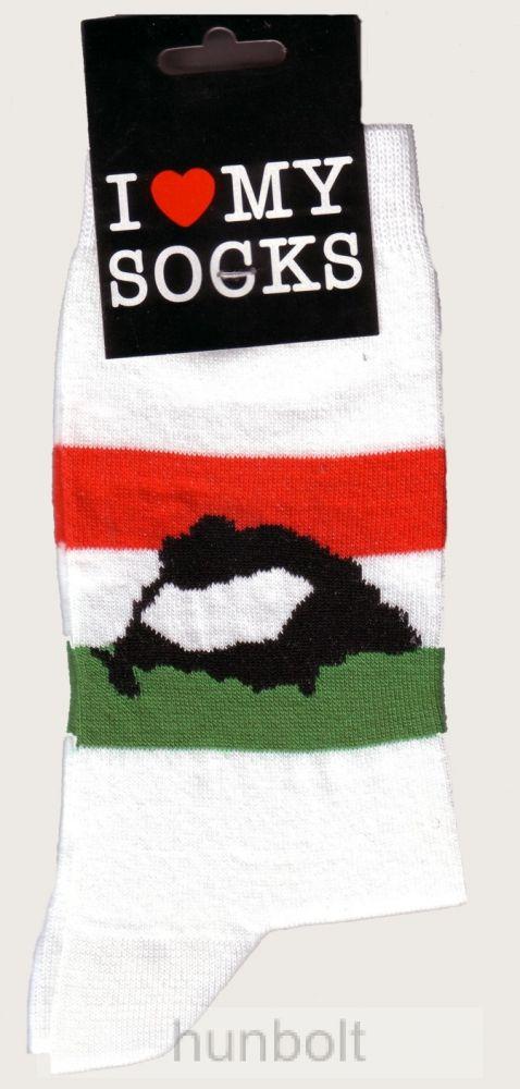 Magyar nemzeti színű Nagy-Magyarországos fehér zokni 36-40