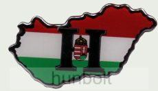 Műgyantás domború Magyarország címeres H matrica (8,5X4 cm)
