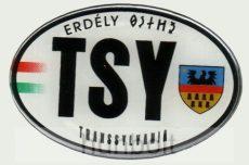 Műgyantás domború ovális TSY Erdély matrica 14X9 cm