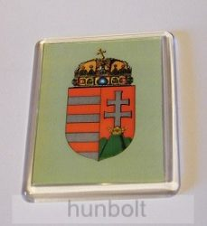 Magyar címer zöld alapon hűtőmágnes (műanyag keretes)