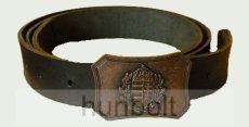 Címeres bronz övcsat bőrszíjjal