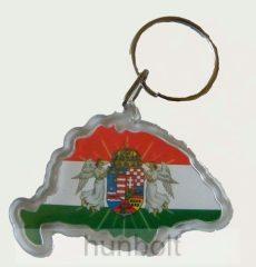 Nagy-Magyarország alakú műanyag angyalos kulcstartó (3,5X5,5 cm)