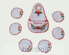 Üvegkötény hímzett kalocsai mintával és  6 db poháralátéttel