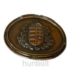 Ovális sötét bronz koszorús címeres övcsat (8X6,5 cm)