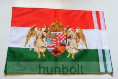 Kétoldalas nemzeti színű barna angyalos zászló hajóra tépőzárral (30X40 cm)