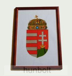 Asztalra tehető és falra akasztható üveglapos fakeretes címer 21X30 cm, falikép