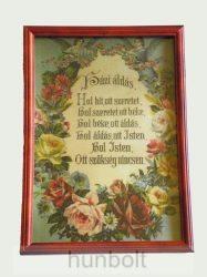 Asztalra tehető és falra akasztható üveglapos fakeretes Házi áldás 21X30 cm