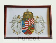 Asztalra tehető és falra akasztható üveglapos fakeretes angyalos címer 21X30 cm