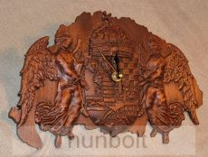 Faragott Nagy-Magyarország térkép angyalos címerrel falióra mahagóni színben