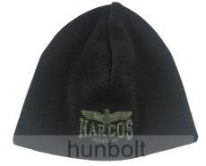 Kötött fekete sapka, HARCOS zöld sassal egyszínű, dupla rétegű