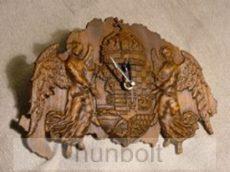 Nagy-Magyarország térkép angyalos címerrel faragott falióra dió színben