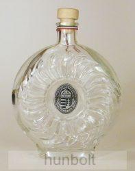Boros/pálinkás üvegkulacs ón koszorús címerrel 0,5 l